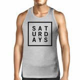 Saturdays Mens Heather Grey Sleeveless Tank Top Simple Typography