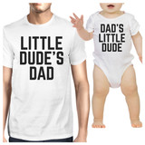 Little Dude White Dad and Baby Boy Matching Tops Funny Dad Gifts
