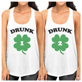 Drunk1 Drunk 2 Cute BFF Matching Tank Tops Pullover Funny Gift Idea