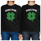 Drunk1 Drunk2 Cute Best Friend Matching Sweatshirt Funny Gift Ideas