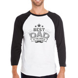 Best Dad In The World Mens 3/4 Sleeve Baseball Tee For Fathers Day
