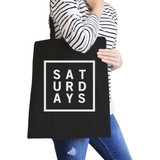 Saturdays Black Canvas Bag Trendy Typography Tote Bag Gift Ideas