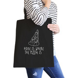 Home Is Where Pizza Black Canvas Bag Cute Graphic Printed Eco Bag
