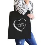 Feeling Empty Heart Black Cute Canvas Tote Bag Unique Graphic