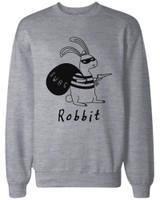 Funny Unisex Grey Graphic Sweatshirts - Robbit with Swag Bag