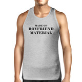 Boyfriend Material Mens Grey Tank Top Simple Design Cotton Tanks
