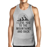 Mountain And Back Mens Gray Sleeveless Tee Great Summer Coupl Shirt