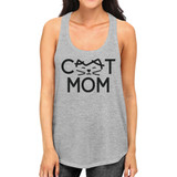 Cat Mom Women's Grey Cute Design Cotton Tanks Gifts For Cat Lovers