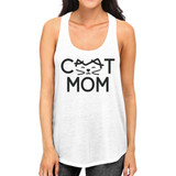Cat Mom Women's White Cute Design Cotton Tanks Gifts For Cat Lovers
