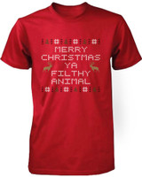 Funny X-mas Graphic Tee - Merry Christmas Ya Filthy Animal Red Cotton T-shirt