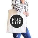 Hug Life Natural Tote Bag Simple Trendy Design PocketSize Graphic