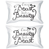 His and Hers Pillowcases - Every Beauty Needs a Beast Matching Pillow Cover