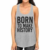 Born To Make history Womens Grey Sleeveless Tank Top Yuri On Ice