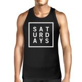 Saturdays Mens Sleeveless Black Tank Top Typography Trendy Tops