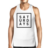 Saturdays Mens White  Sleeveless Tank Top Simple Typography Top