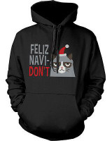 Funny Grumpy Cat Christmas Hoodies - Feliz Navidon't Unisex Black Hoodie