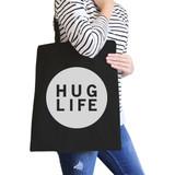 Hug Life Black Canvas Bag Simple Trendy Design Pocket Size Graphic