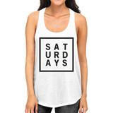 Saturdays Womens White Sleeveless Tank Top Simple Typography
