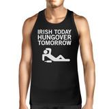 Irish Today Hungover Tomorrow Men's Black Graphic Cotton Tank Top