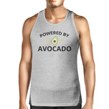 Powered By Avocado Mens Grey Cotton Tank Top Round Neck Cute Design