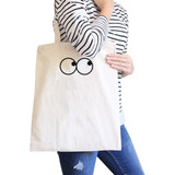 Eye Emoji Natural Canvas Bag Funny Graphic Printed Student Bags
