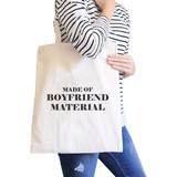Boyfriend Material Funny Saying Canvas Shoulder Bag Gift Ideas