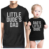 Little Dude Black Matching Graphic T-Shirts For Dad and Baby Boy