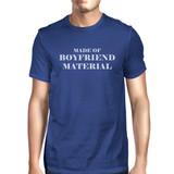 Boyfriend Material Mens Blue Round Neck T-Shirt Trendy Graphic Top