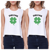 Drunk1 Drunk2 Women White Crop Tee Cute Best Friend Top St Patricks
