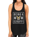 Being A Mom Is Ruff Women's Black Sleeveless Graphic Top Round Neck