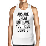 Abs Are Great But Mens White  Sleeveless Tanks Funny Workout Top