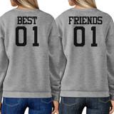 Best 01 And Friend 01 BFF Sweatshirts Friendship Matching Grey Fleece