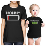 Mommy & Daughter Battery Black Matching Shirt For Mom and Baby Girl