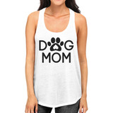 Dog Mom Women's White Cute Dog Paw Graphic Tank Top For Dog Lovers