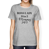 Boss Lady Mommy Womens Gray Cute Graphic Tee Mothers Day Gift Ideas