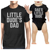 Little Dude Black Funny Design Dad and Baby Boy Matching Outfits