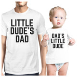 Little Dude White Funny Design Matching Outfit For Dad and Baby Boy