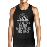 Mountain And Back Men's Black Cotton Tank Top Cute Gift For Couples