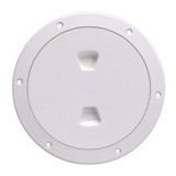 """Beckson 6"""" Smooth Center Screw-Out Deck Plate - White"""
