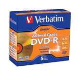 Verbatim DVD-R 4.7GB 16X UltraLife Gold Archival Grade with Branded Surface and Hard Coat - 5pk Jewel Case