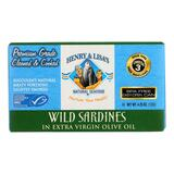 Henry And Lisa's Natural Seafood Wild Sardines In Extra Virgin Olive Oil - Case Of 12 - 4.25 Oz.