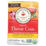 Traditional Medicinals Organic Lemon Echinacea Throat Coat Herbal Tea - 16 Tea Bags - Case Of 6