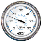 "Faria 5"" Speedometer (60 MPH) GPS (Studded) Chesapeake White w/Stainless Steel"