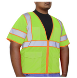 GLOW SHIELD Class 3 - 2 Tones Colors Stripes Vest with sleeves