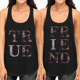 True Friend Floral Cute BFF Matching Tank Tops for Best Friends