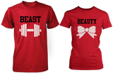 Beauty & Beast Red Matching Couple Shirts (Set) - 3PCT060 MXL W2XL