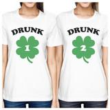 Drunk1 Drunk2 Womens White Cute Best Friend T-Shirt St Patricks Day