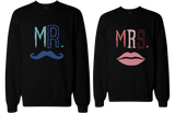 His and Her Mr Mustache and Mrs Lips Matching Sweatshirts for Couples