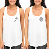 Cute Honey Comb and Bee BFF Matching White Tank Tops for Women and Girls