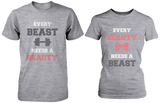Every Beauty Needs A Beast Matching Couple Shirts in Grey (Set)
